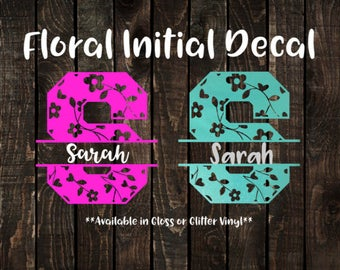 Personalized Floral Initial Decal, Yeti Decal, Tumbler Decal, Window Decal, Name Decal