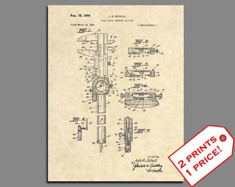 Patent Print - Dial Caliper Patent Art - Vintage Engineer Office Art - Engineer Wall Art - Antique Tools - Caliper Patent Poster Prints  475