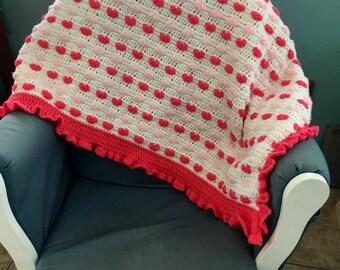 Crochet pink heart baby blanket