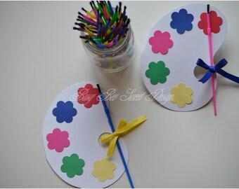 Paint Art Party Invitations / Paint Palette Invitations / Party Invitations