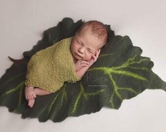 Felted leafe, dark green leafe, photo prop, felted layer