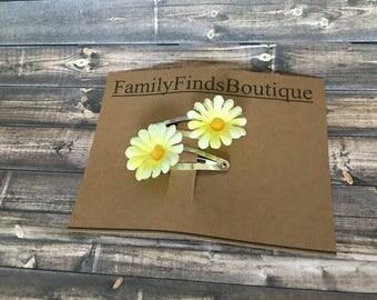 Yellow / Daisy / Hair Clips / Baby / Baby Shower Gift / Flower Girl