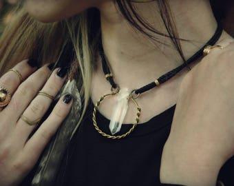 Viking Pendant Necklace Clear Quartz Brass