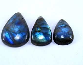 Natural Labradorite Pear shape loose semi precious gemstone cabochon size 23.5 To 39 mm approx wholesale gemstone GE-324