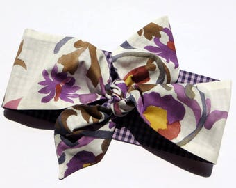 Double sided 2 in 1 dolly bow headband floral print purple white gingham top knot headband check bow hair scarf vintage inspired