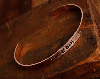 Copper Brave Bracelet . Brave Bracelet . Nature Bracelet . Bridesmaid Gift . Stayandwander . Onward Bracelt