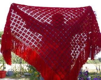 Crochet shawl.  Red shawl