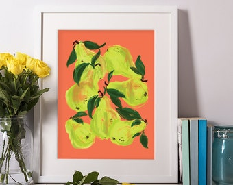 Pears, Fruit Digital Print, Fruit Art, Kitchen Art, Kitchen Decor, Wall Art, Gift for Her, Art Prints, Wall Decor, 11x14, 8x10