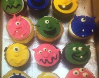 Monster Fondant Cupcake Toppers (12 asst.)