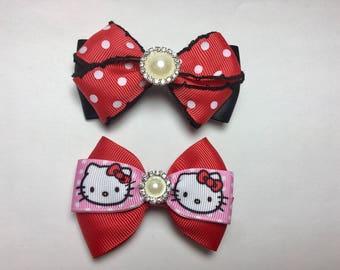 2 Handmade Hair Bows w/Pearl Rhinestone Embellishment Hello Kitty  Red White Polka Dots Pink Black RIbbon