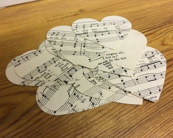 """2"""" Die Cut Musical Heart Shapes - Cut from a variety of Sheet Music"""
