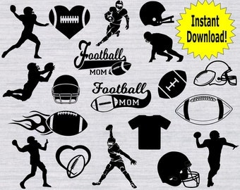 Football SVG Files, Football SVG Bundle, football clipart, football silhouettes, svg files for silhouette, files for cricut, dxf, cutfiles