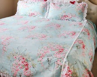 Blue White Ruffle Shabby Chic Rose Floral Lace Cotton Duvet Cover