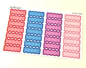 Planner Stickers Scallop Labels Stickers fits the Erin Condren Life Planner