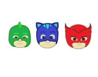Pj Mask Applique - Gekko, Catboy and Owlette