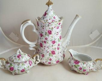 Lefton Rose Chintz Coffee Pot, Sugar & Creamer