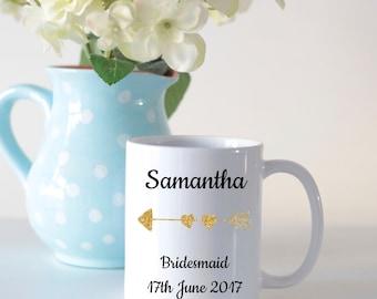 Bridesmaid mug, wedding mug, personalised mug, bridesmaid gift, gifts for bridesmaids, wedding gifts, bridal party gift, personalised gift