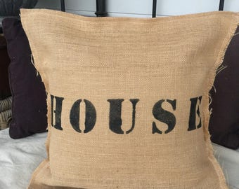 Hessian cushion cover- House brown - size 18 - 46 x 46cm