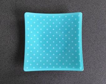 Dots Dish - Turquoise/White