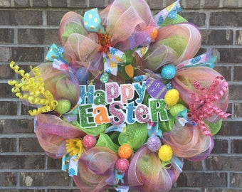 Deco Mesh Easter Wreath - Easter Wreath - Pastel Wreath - Pastel Easter Wreath - Large Easter Wreath - Large Door Wreath - Deco Mesh Wreath