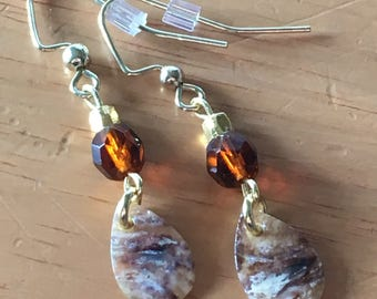 Amber and Shell Earrings