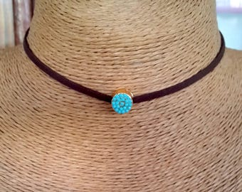 choker, leather choker, turquoise necklace, Boho Choker, Brown leather necklace, charm necklace, special day gift,mothers day gift