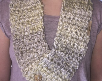 Multi shades of cream scarf with 2 buttons