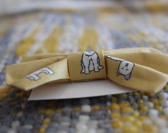 Mustard Scottie Dog | Traditional Bow | Hair Tie