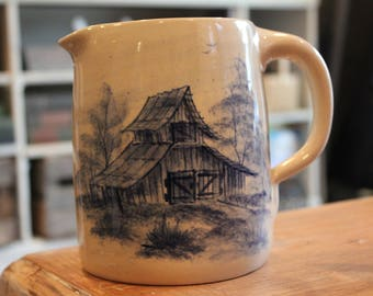 Vintage Paul Storie Pottery With Blue Barn Scene