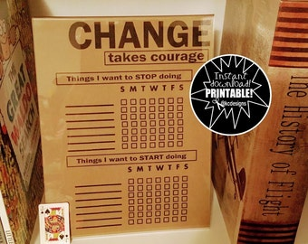 CHANGE takes COURAGE- Daily Planner - Day Planner- Printable Planner Pages - Journaling page - Life Planner - planner pages - Bullet Journal