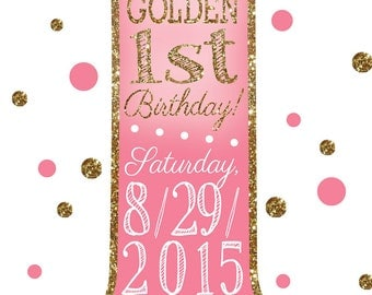 Golden 1st Birthday Party Invite - DIGITAL FILE ONLY