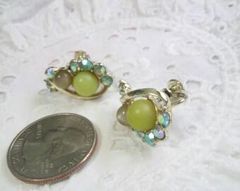 Star clip on bead and rhinestone earrings