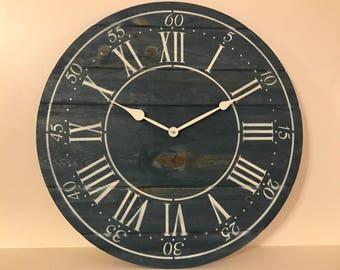 "24"" Custom Farmhouse  Rustic Wall Clock- Blue"