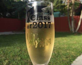 Personalized Graduation Champagne Glass | Graduation Gift