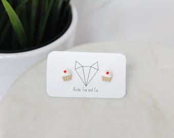 Cupcake Stud Earrings - Handmade Polymer Clay