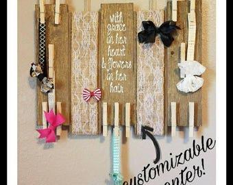 Hair Bow holder, hair bow organizer, girl nursery decor, girl nursery, rustic decor, rustic nursery, bow hanger, rustic room, boho nursery