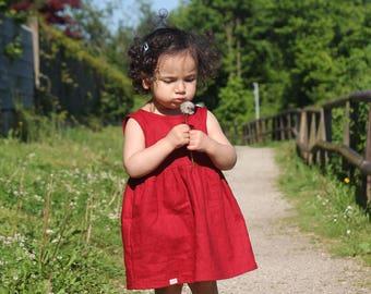 Linen dress in deep red colour
