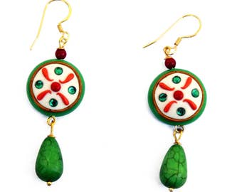 Earrings depicting the cassata