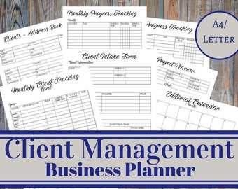 Client Management Business Planner, Client Intake Form, Project Manager, Progress Tracking, Virtual Assistant, Social Media Manager Business