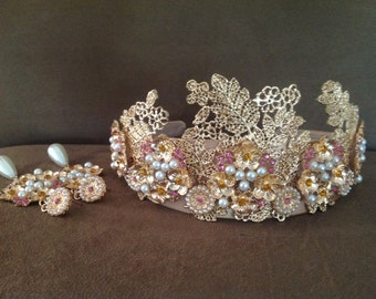 Golden Flower Baroque Crown