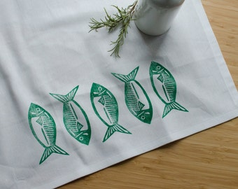 Green Fish Block Printed Tea Towel - White, cabin, cottage, fishing tea towel