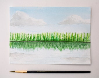 Original Watercolor Painting by hand (Frame included), A simple tree line