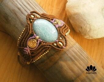 Amazonite macrame bracelet, gemstone bracelet, macrame bracelet jewelry, steampunk bracelet, elven jewelry, tribal bracelet