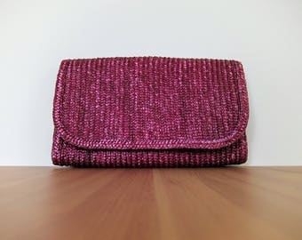 large vintage purple straw clutch