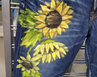Hand Painted Jeans Sunflower
