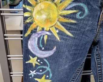 Hand Painted Jeans Sun and moon