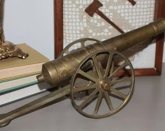 Vintage Brass Decorative Cannon, Civil War Cannon Figurine