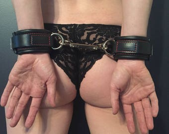 Padded Black Leather BDSM Cuffs