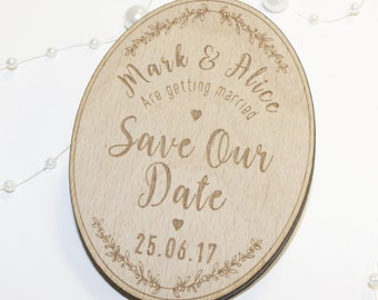 Personalised Save The Date Fridge Magnet, Dates, Save Our Date Magnets, Wooden, Acrylic