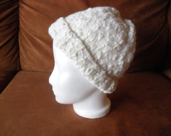 White Knit Hat Thick - Thin wool